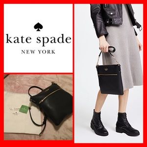 NWT Kate Spade Melisse Leather Crossbody in Black